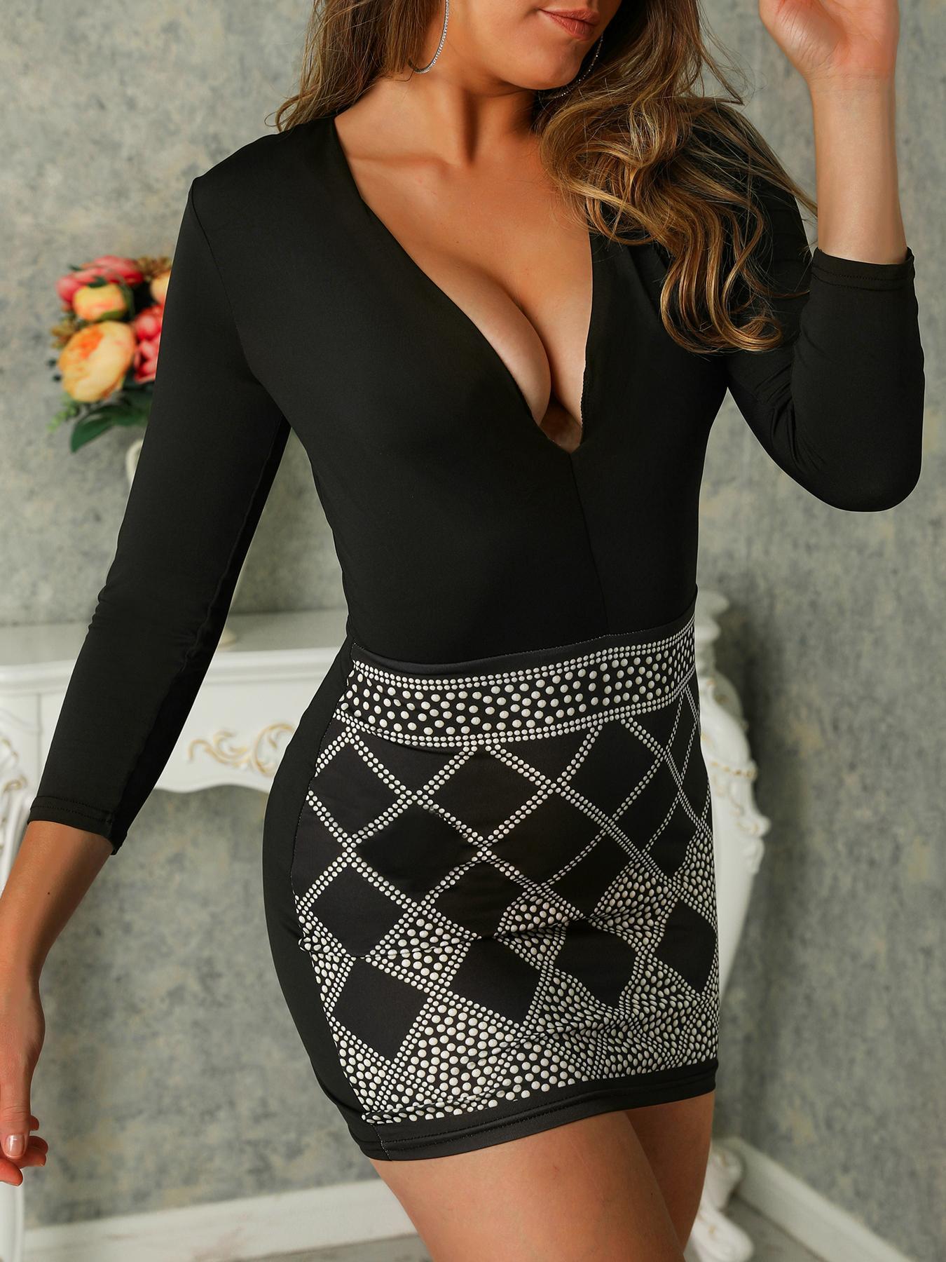 Dot Print Deep V Long Sleeve Bodycon Dress
