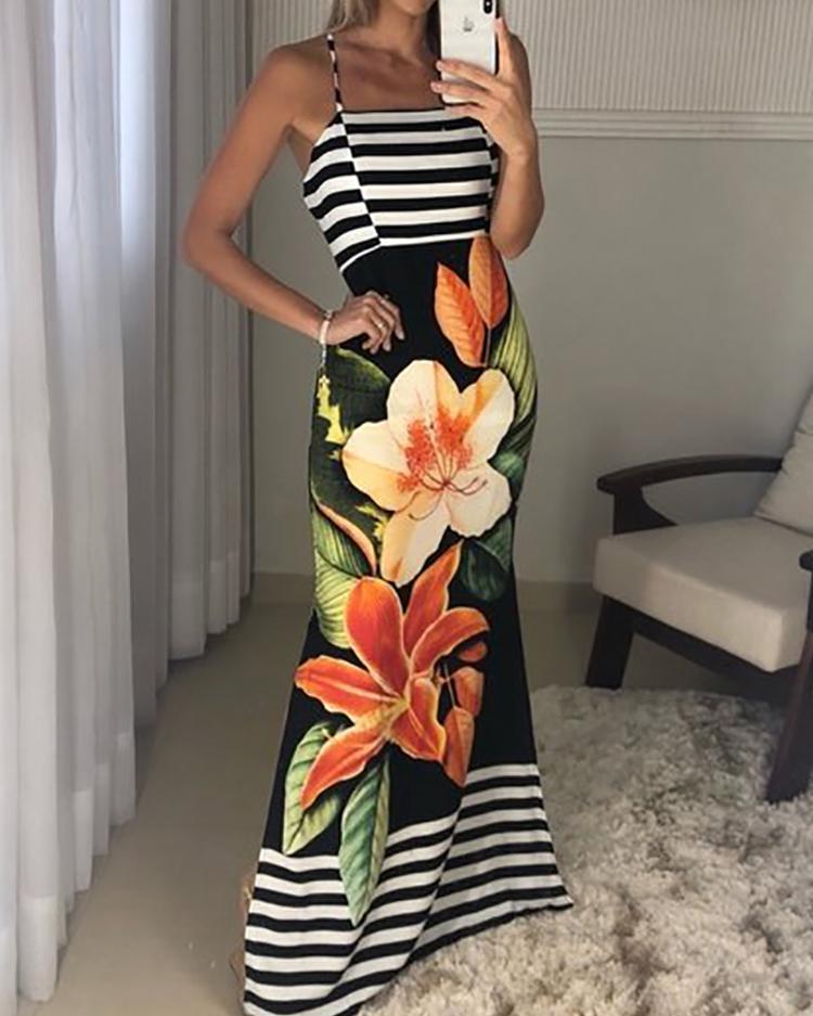 Floral and Striped Splicing Spaghetti Strap Dress