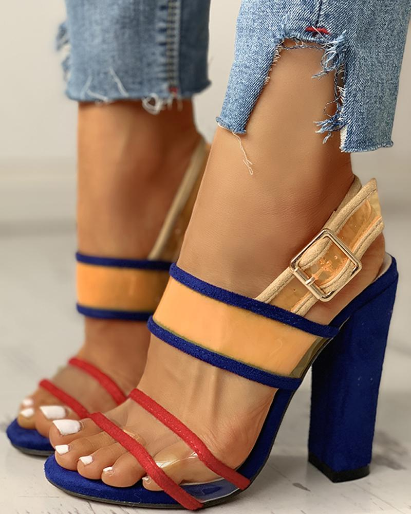 Contrast Color Peep Toe Chunky Heels фото