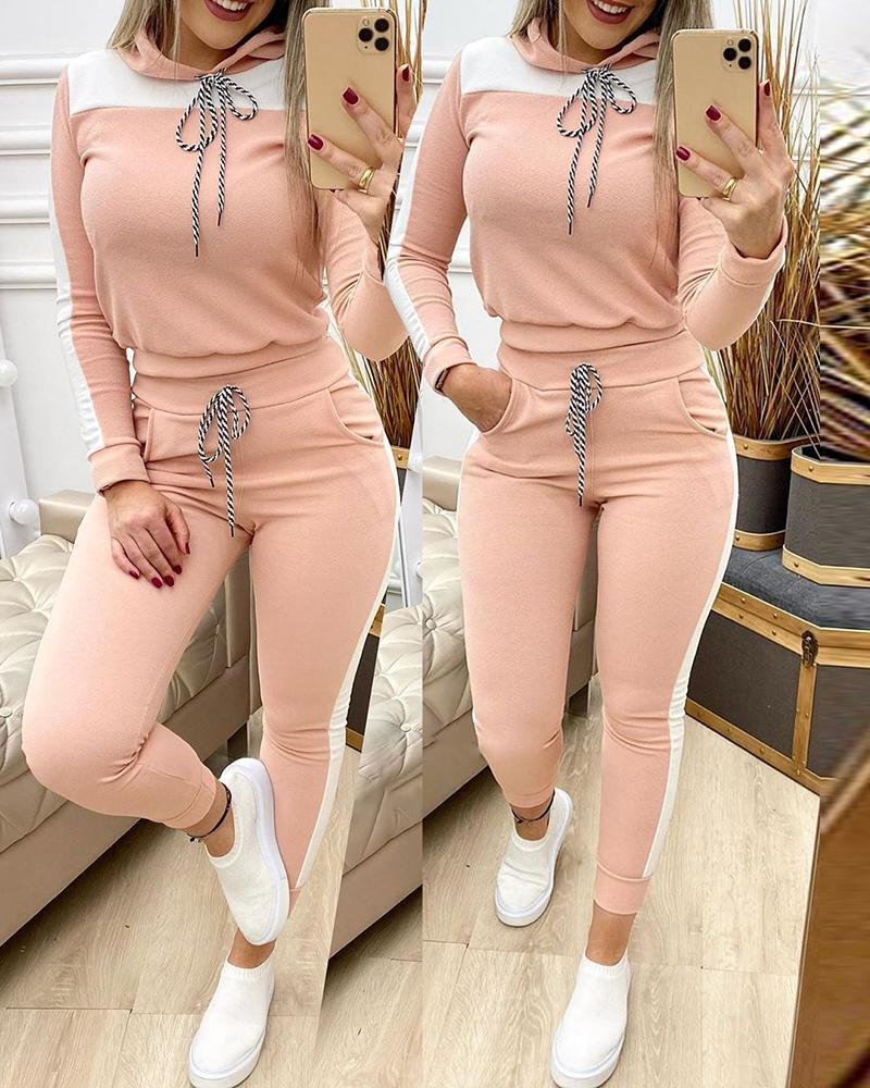 Colorblock Long Sleeve Hooded Top & Drawstring Pants Set фото