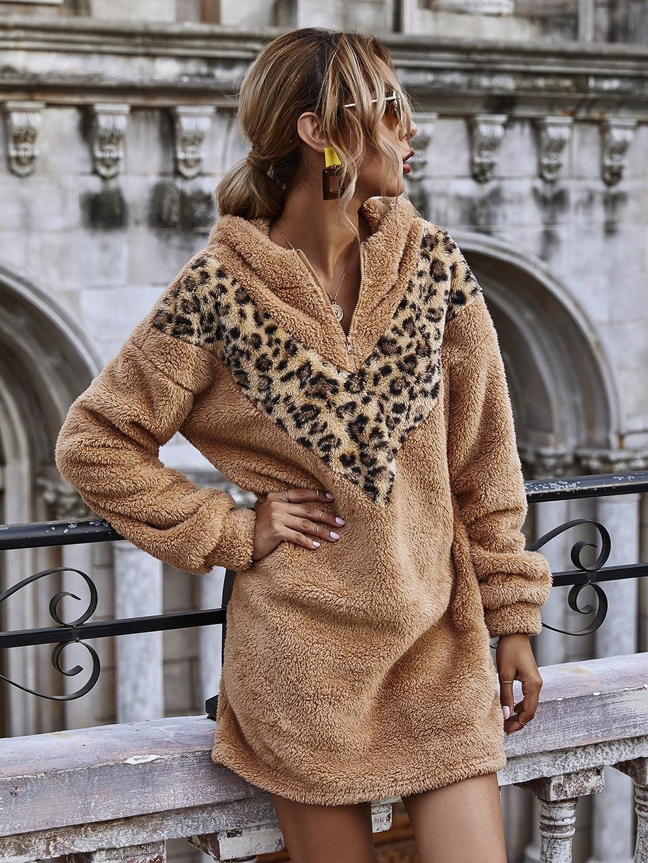 Cheetah Print Zipper Front Hooded Teddy Dress