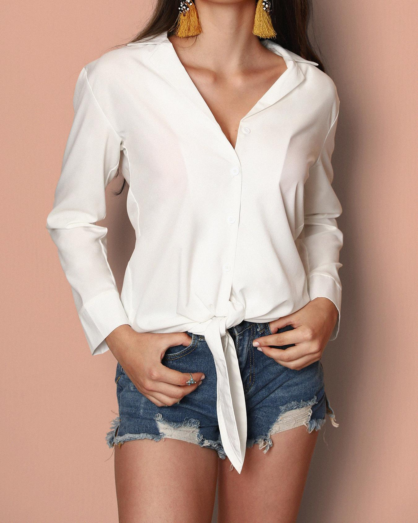 Stylish Bowtie Tied Solid Women's Blouse фото