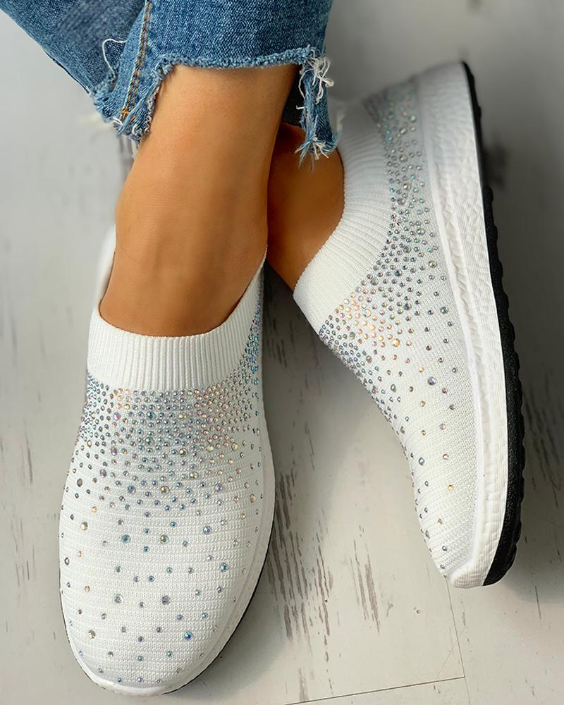 Hot Stamping Ribbed Breathable Knitting Sneakers фото