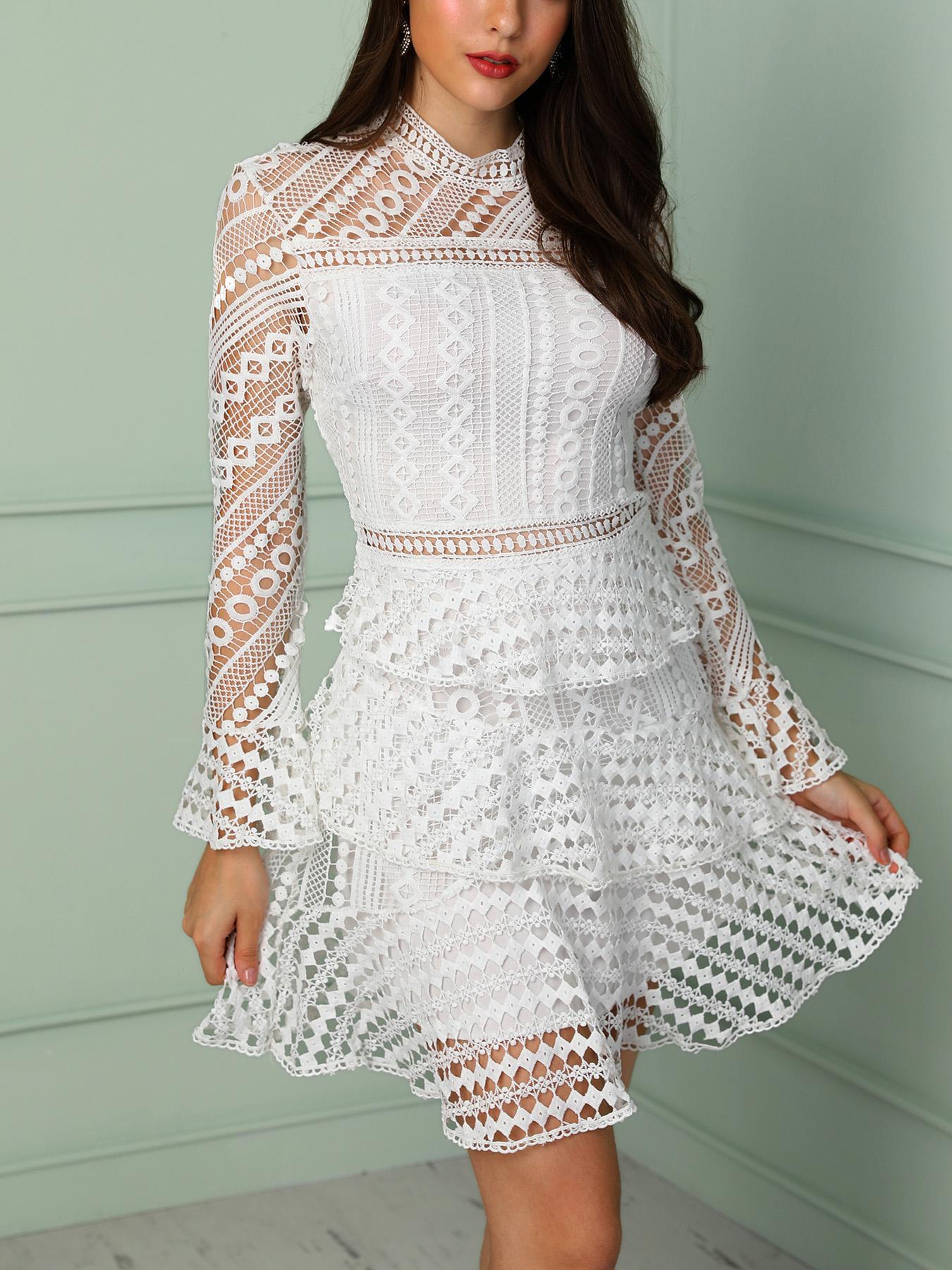 boutiquefeel / Sólido Oco Out Lace Vestido Plissado