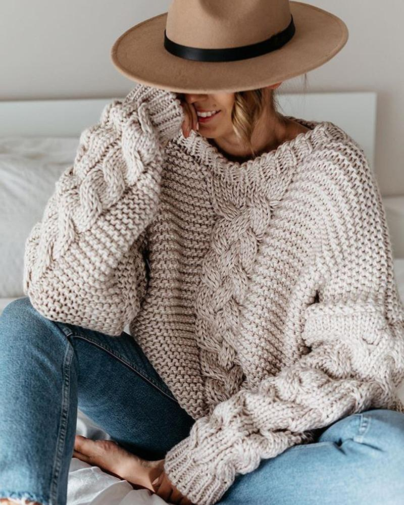 Casual Solid V-neck Loose Sweater фото