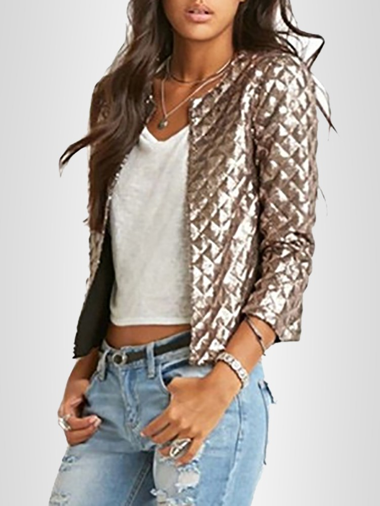 Fashion Gold Glossy Short Coat