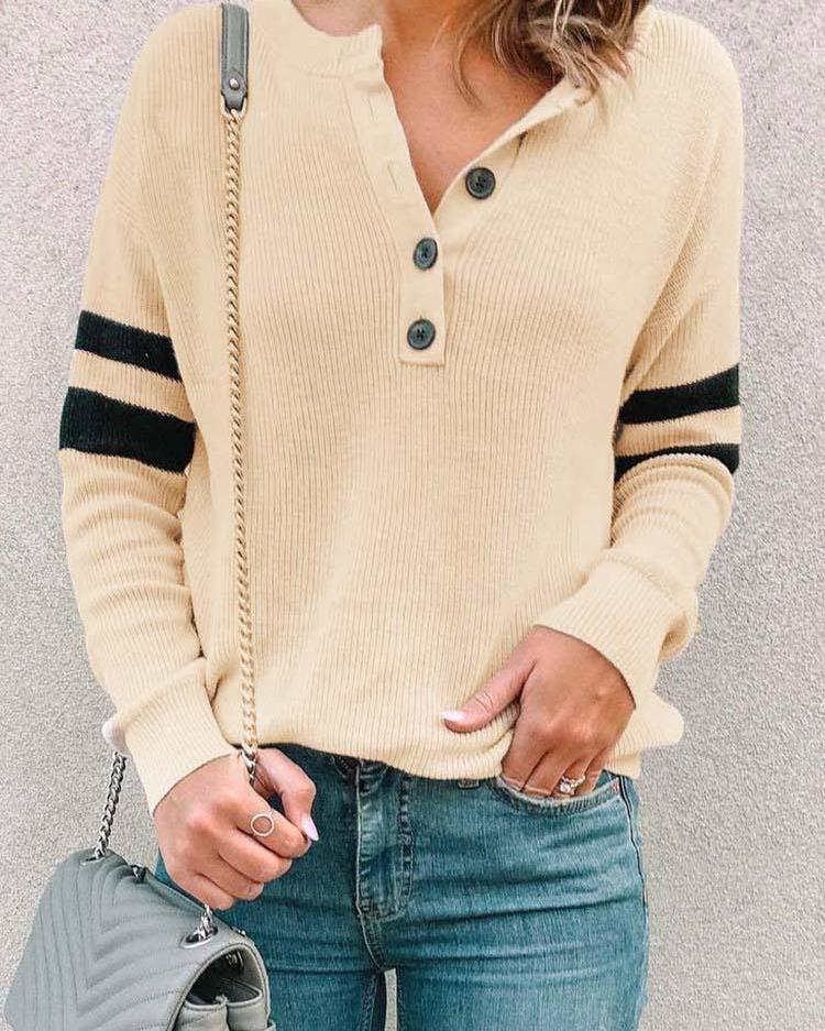 Varsity Striped Button Detail Pullover