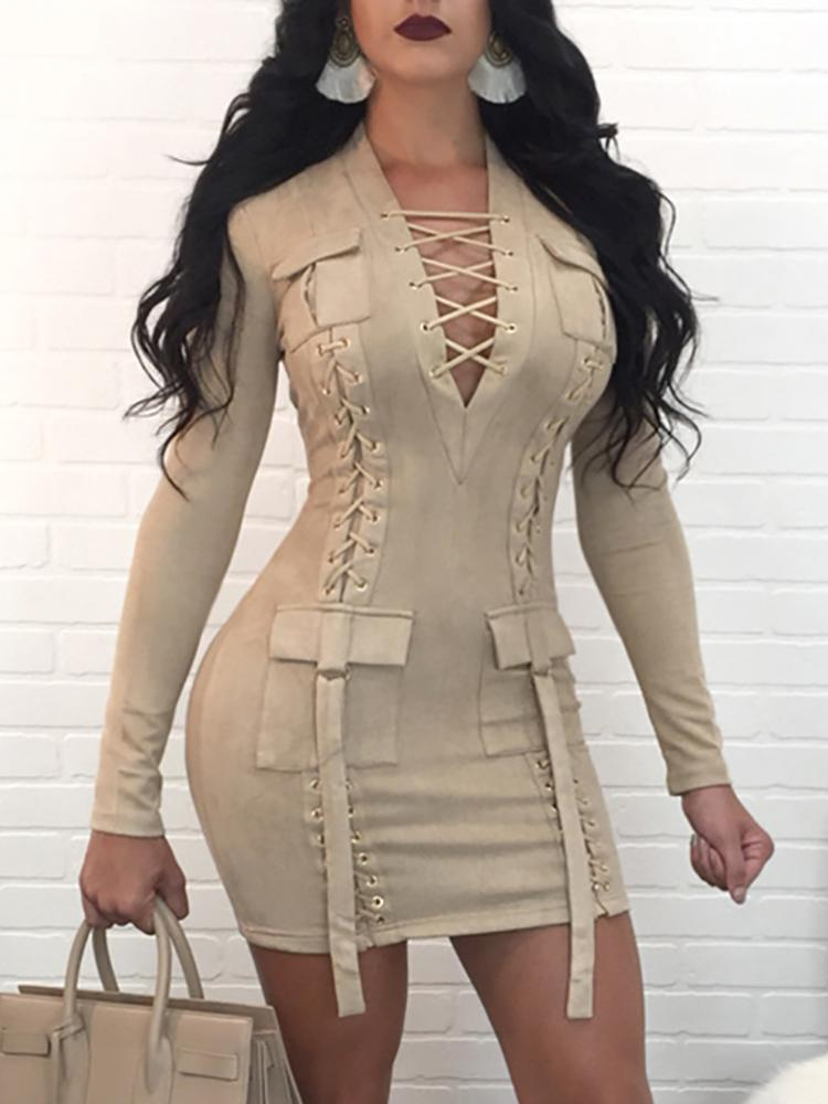 Купить со скидкой Lace-up Deep V Long Sleeve Mini Dress