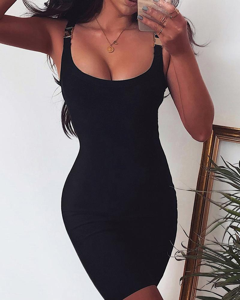 Buckle Thin Strap Bodycon Dress