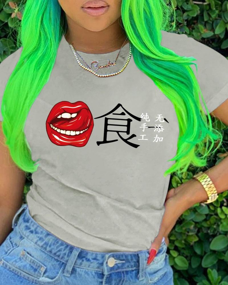 Lip Letter Print Short Sleeve Casual T-shirt фото