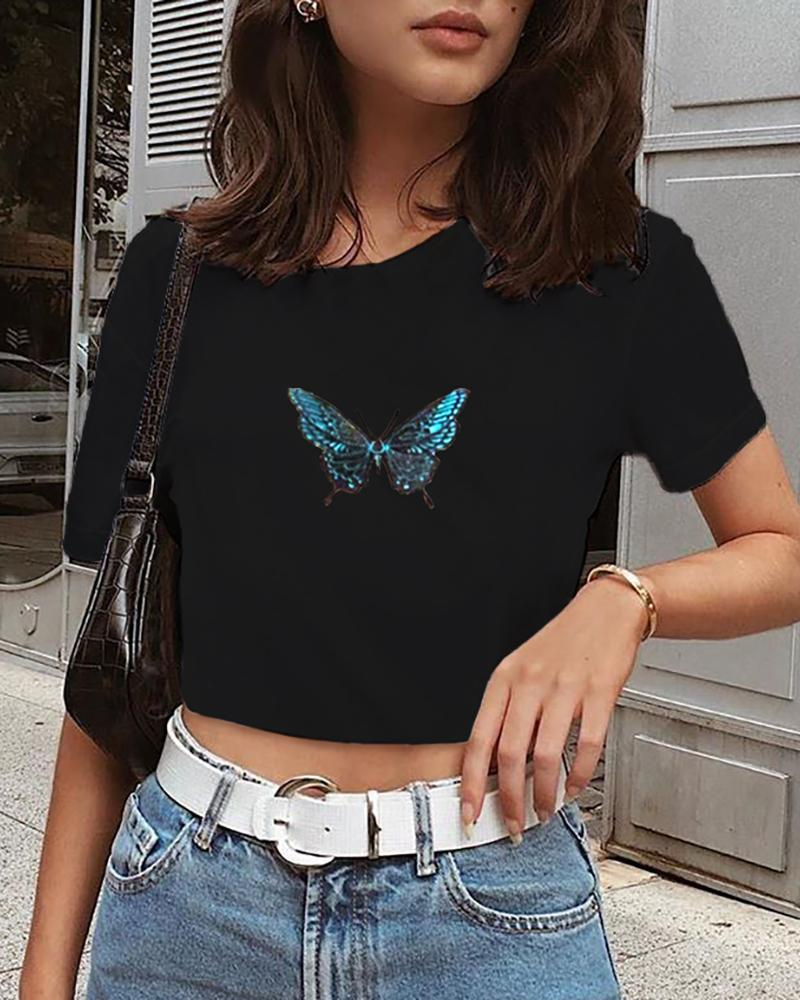 Butterfly Embroidery Round Neck T-shirt фото