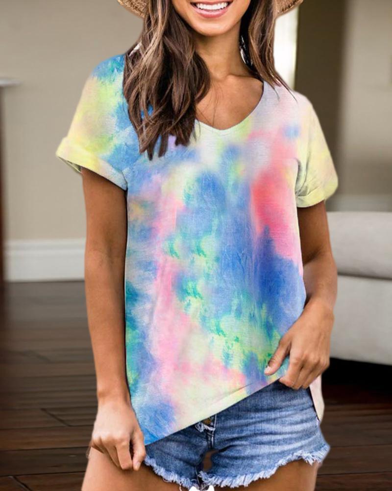 V-neck Tie Dye Print T-shirt фото