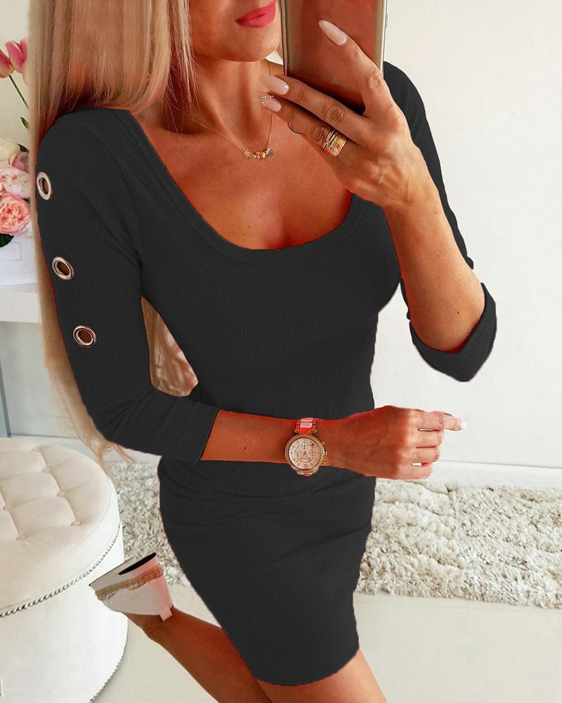 Square Neck O-ring Design Bodycon Dress фото