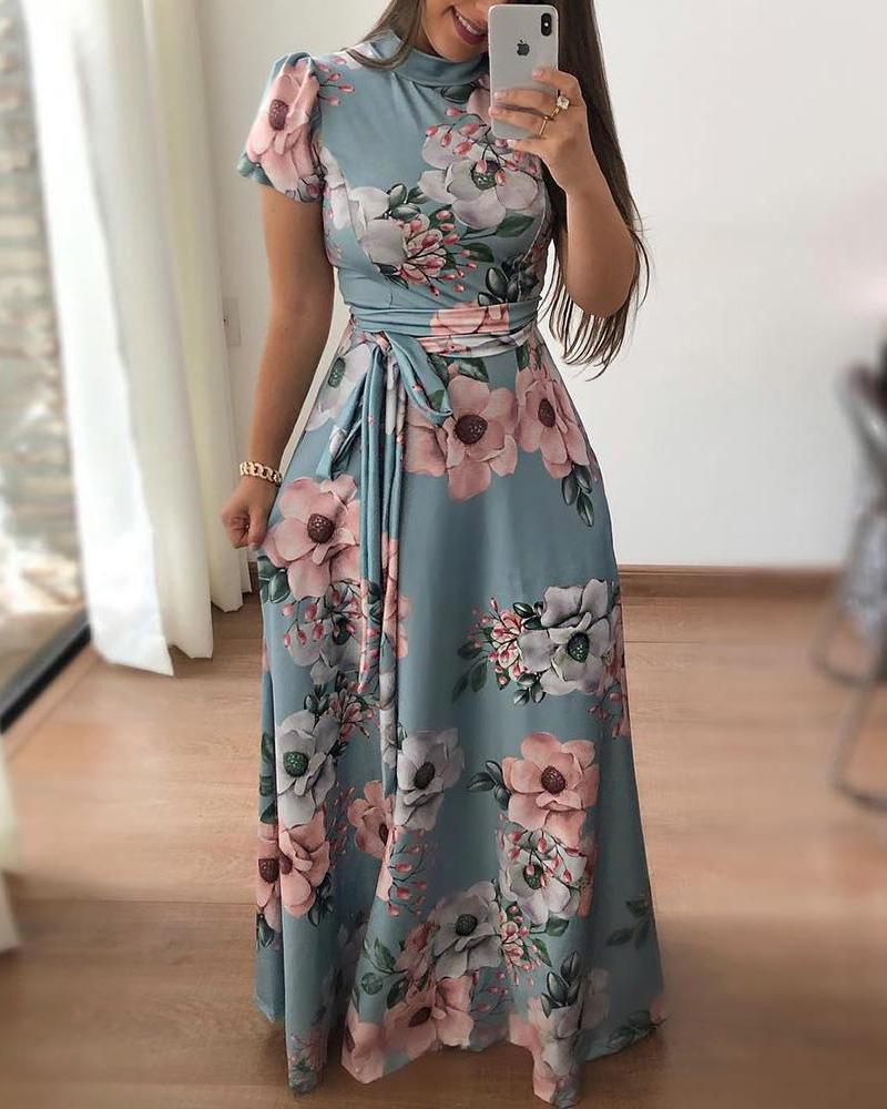 Floral Print Short Sleeve Tie Waist Maxi Dress