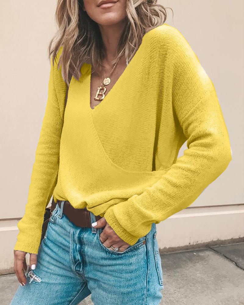 Solid Knit Long Sleeve Casual Sweater фото