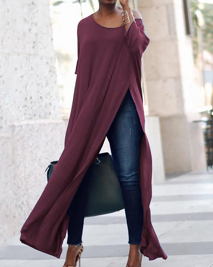 Stylish Solid High Slit Casual T-Shirt фото