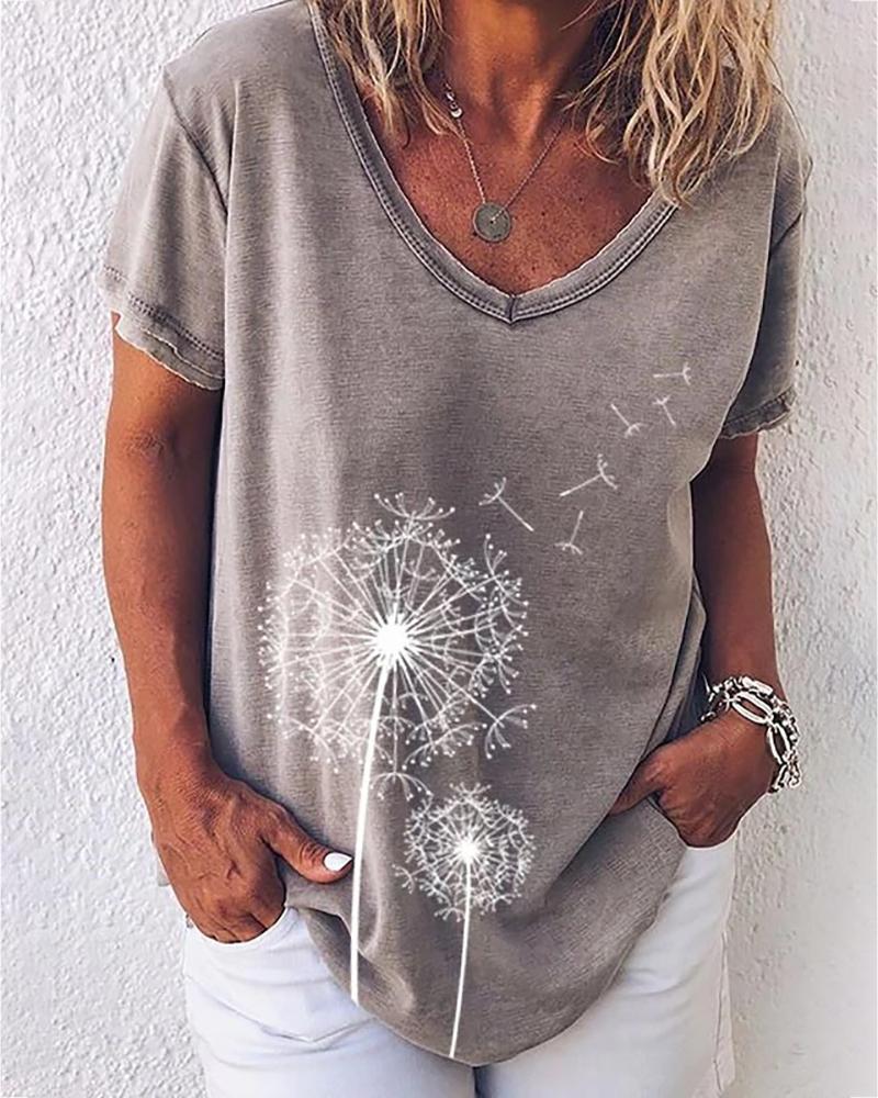 Flower Print V-neck Short Sleeve Casual T-shirt фото