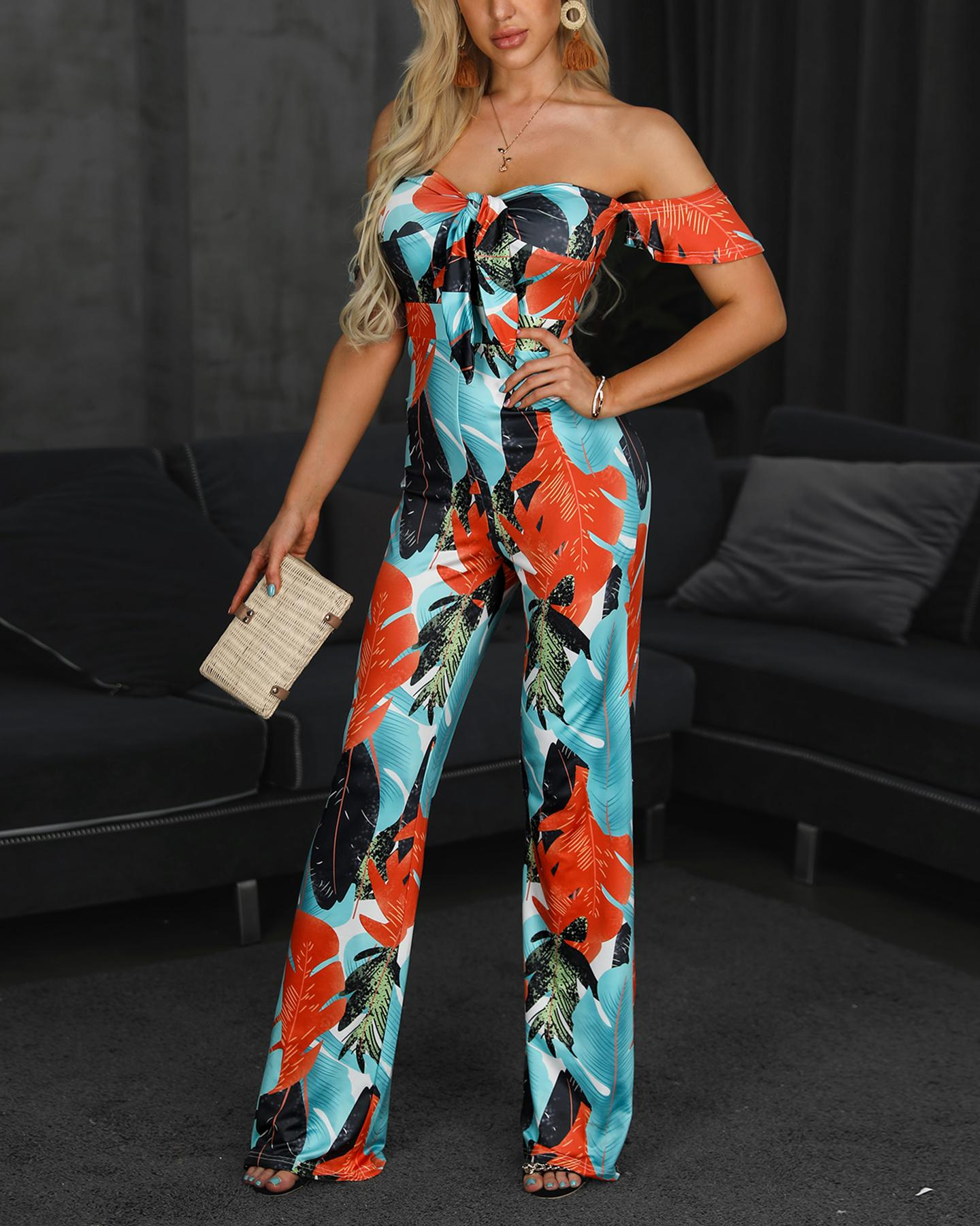 Off Shoulder Tropical Print Knotted Jumpsuit, Multicolor