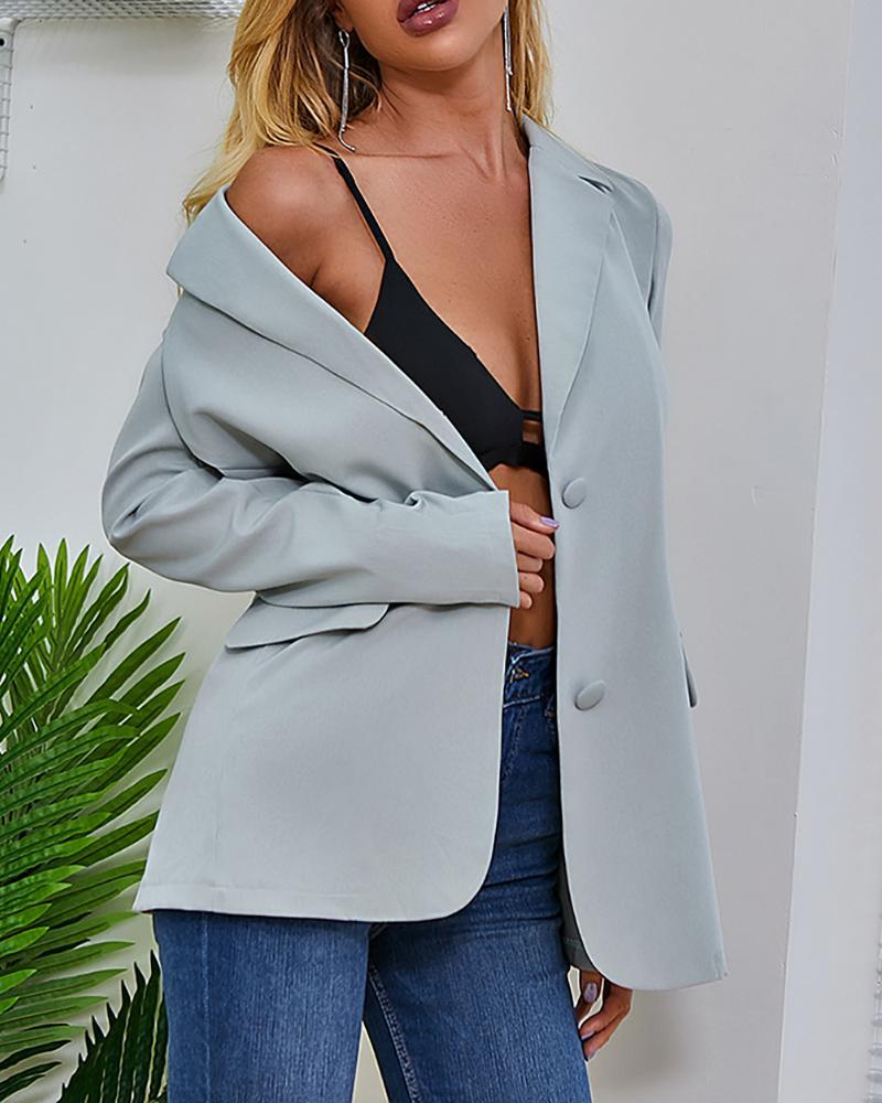 Pocket Design Long Sleeve Blazer Coat фото