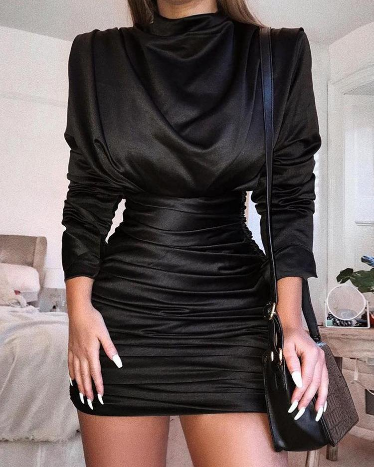 Long Sleeve Slit Back Ruched Party Dress