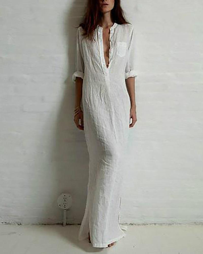 Long Sleeve Deep V Split Maxi Dress