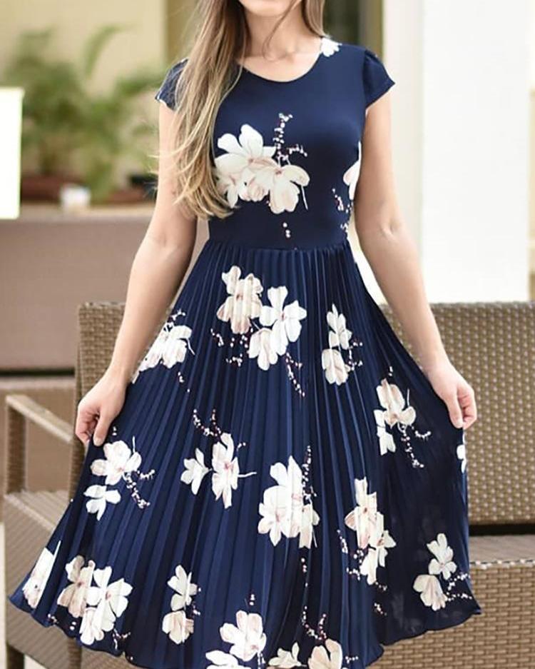 ivrose / Floral Print Short Sleeve Pleated Dress