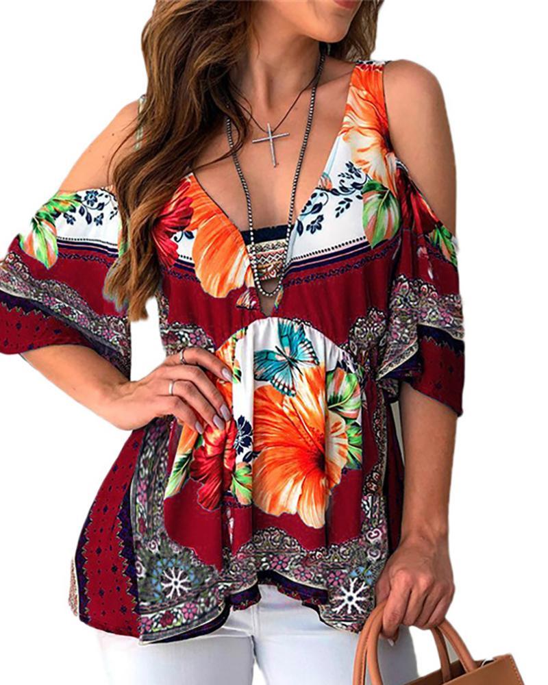 Cold Shoulder V-neck Floral Print Top