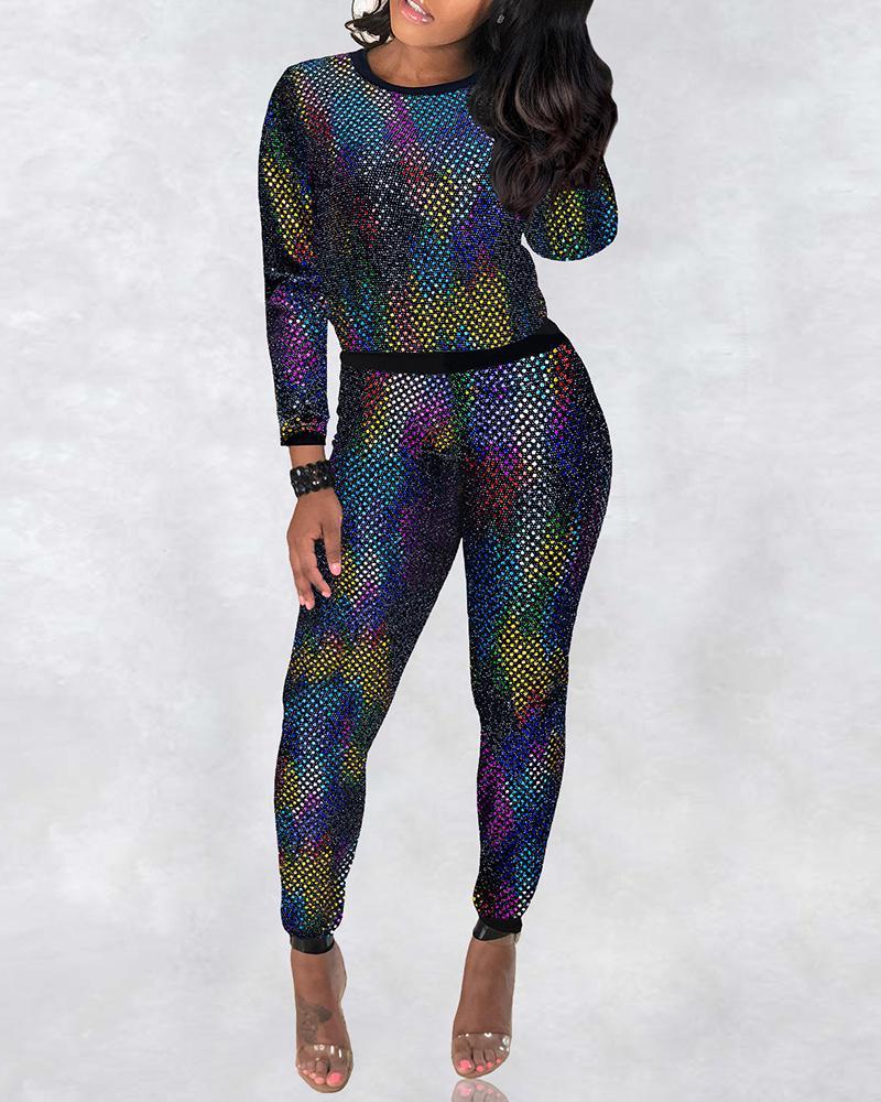 ivrose / Glitter Long Sleeve Slinky Top & Pants Sets