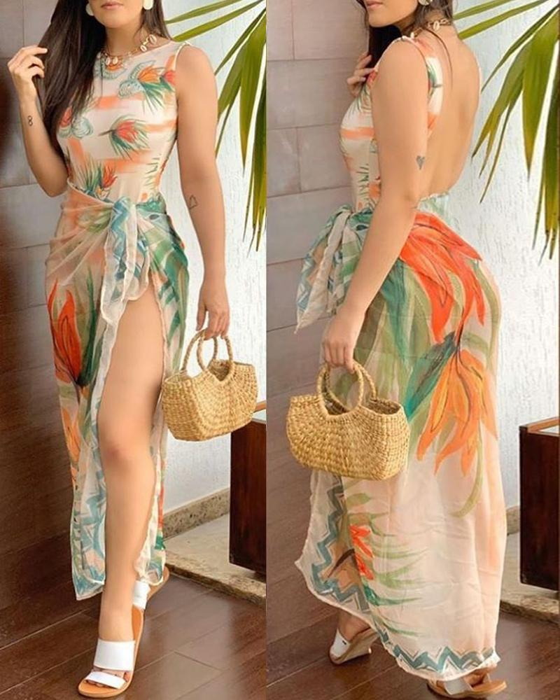 Floral Print Backless Monokini With Cover Ups фото