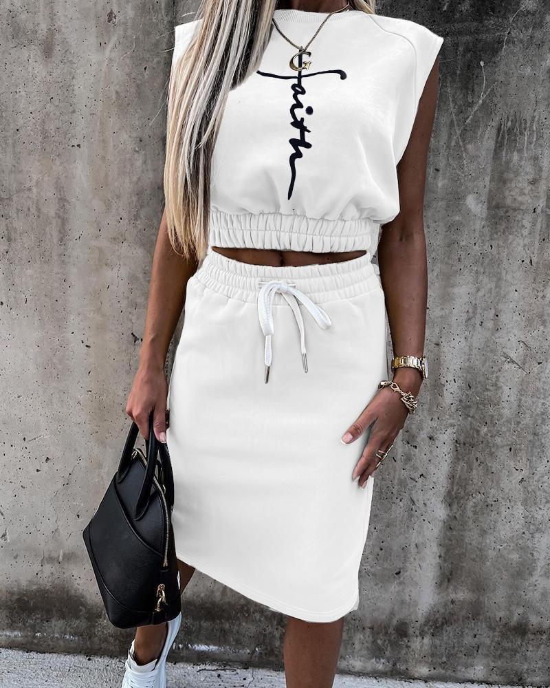 Image of Letter Print Sleeveless Top & Drawstring Skirt Set