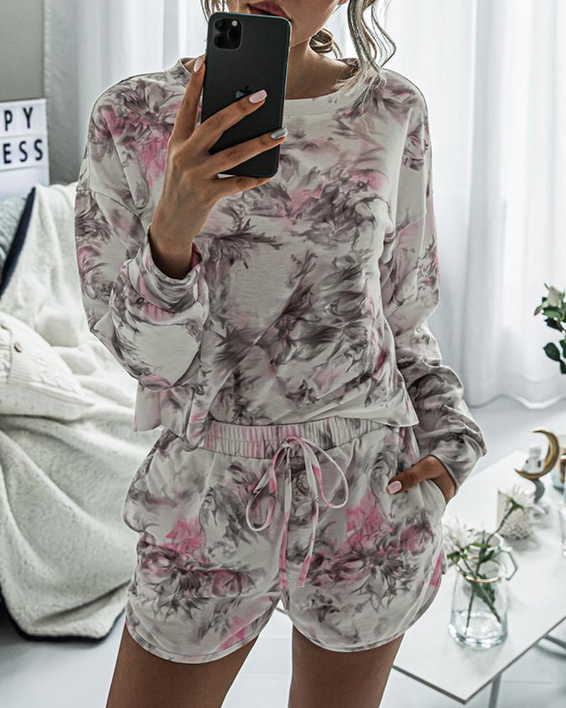 Floral Print Round Neck Pajamas Set фото