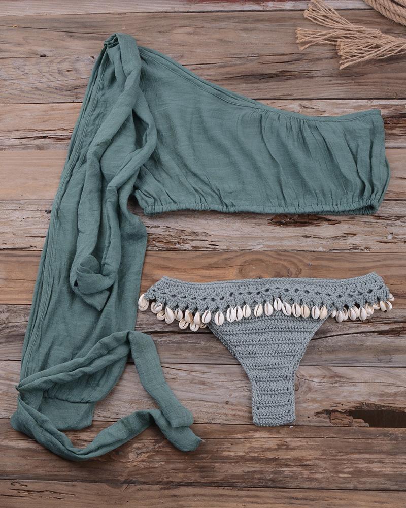 One Shoulder Pompom Crochet Tankini Set фото