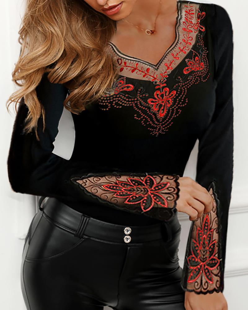 Sheer Mesh Flower Studded Design Blouse фото