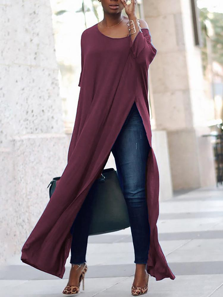 Stylish Solid High Slit Casual Blouse фото
