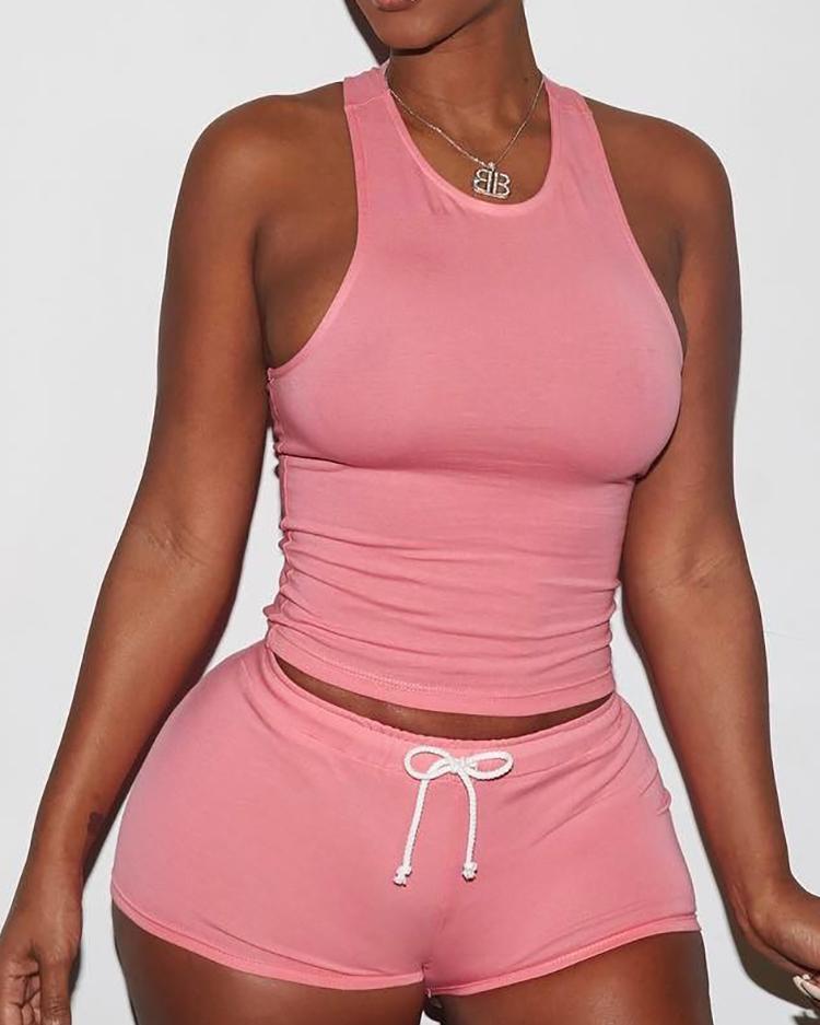 Купить со скидкой Sexy Solid Color Sporty Vest Shorts Set