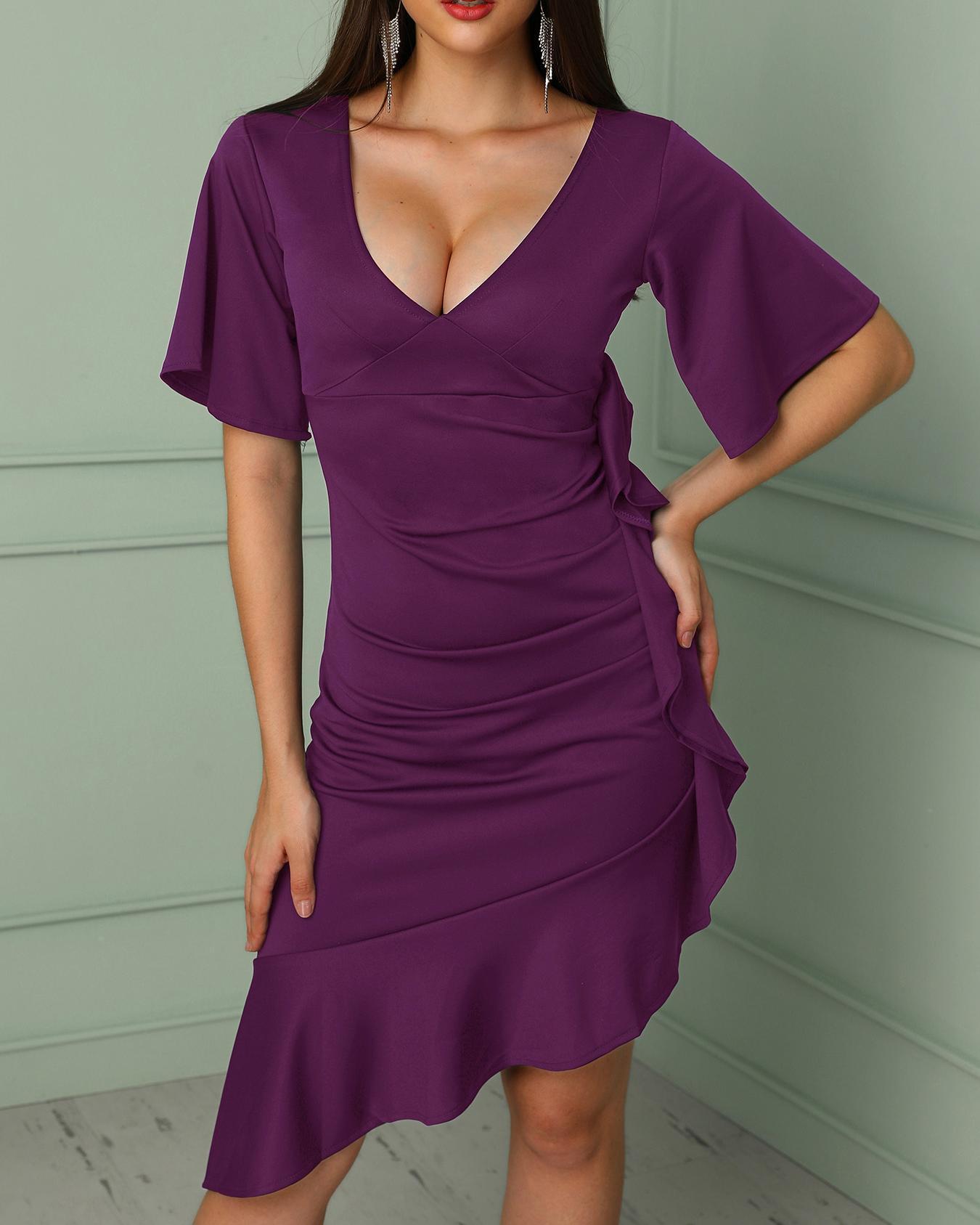 Flared Sleeve Ruffles Scrunch Design Party Dress