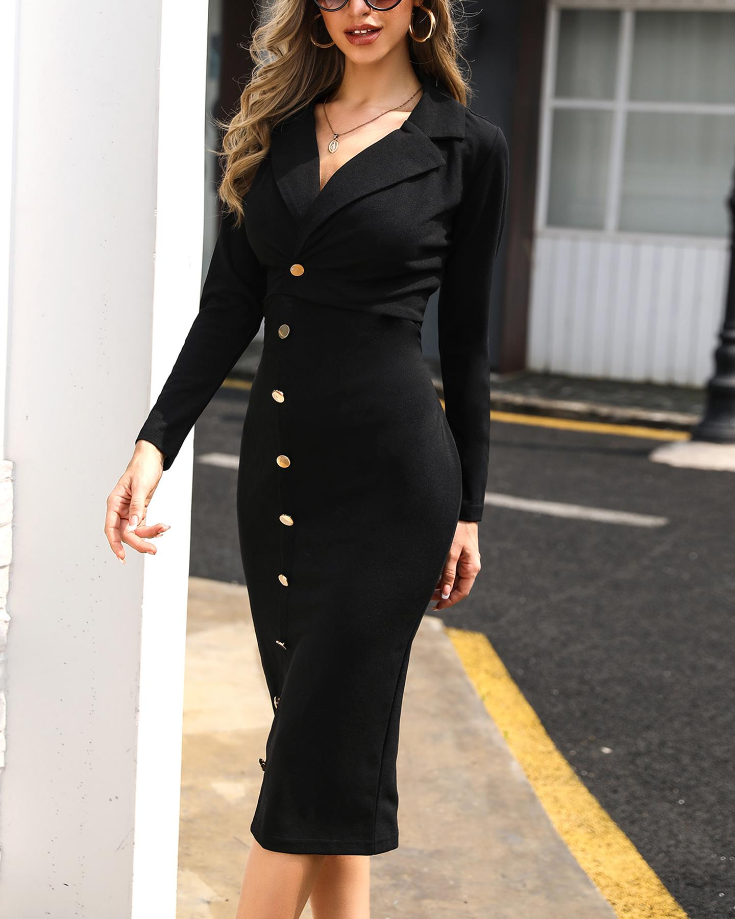 Long Sleeve Button Detail Blazer Dress, Black