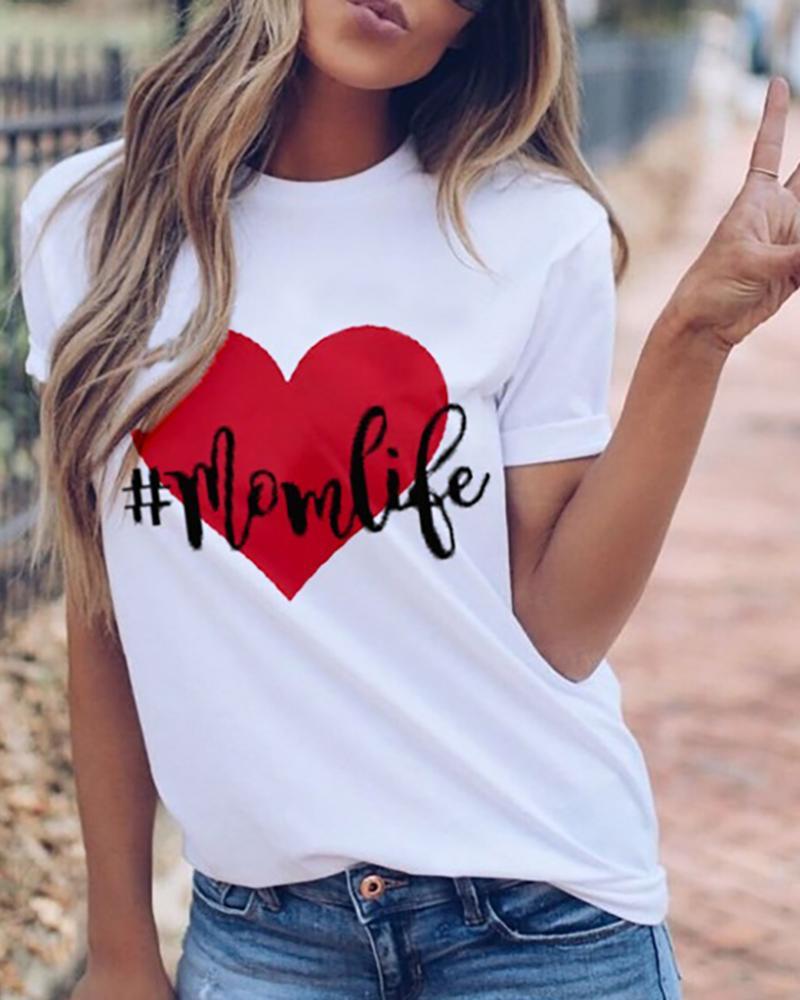 Heart Print Letter Pattern Casual T-shirt, White