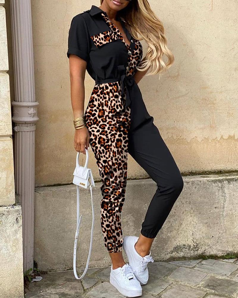 Leopard Print Splicing Short Sleeve Jumpsuit фото