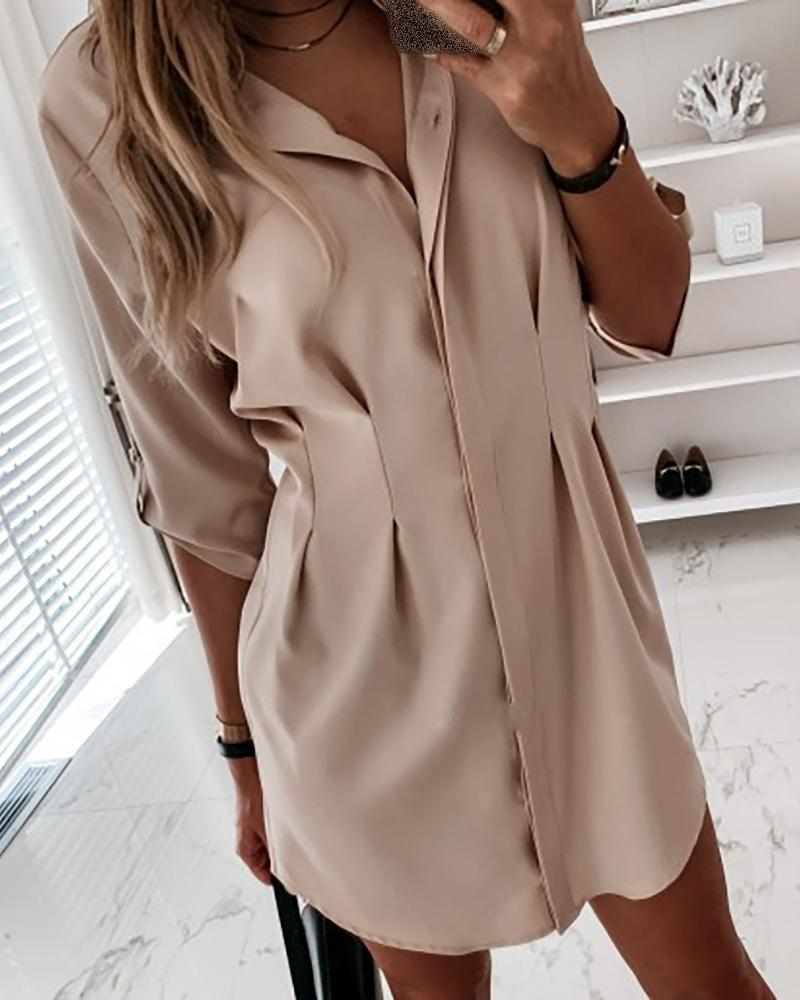 Solid Bottoned Irregular Casual Dress фото