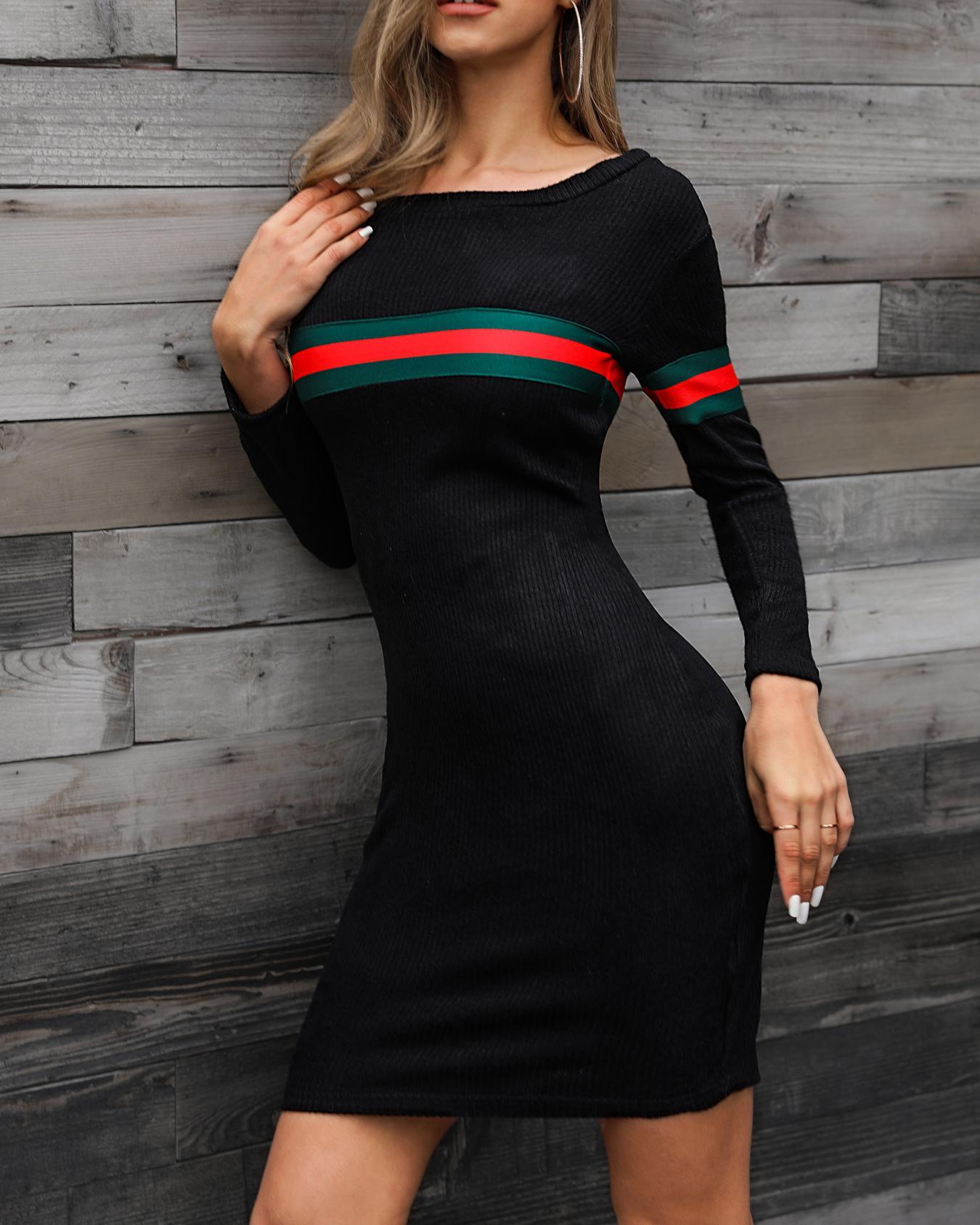 Striped Tape Long Sleeve Bodycon Dress