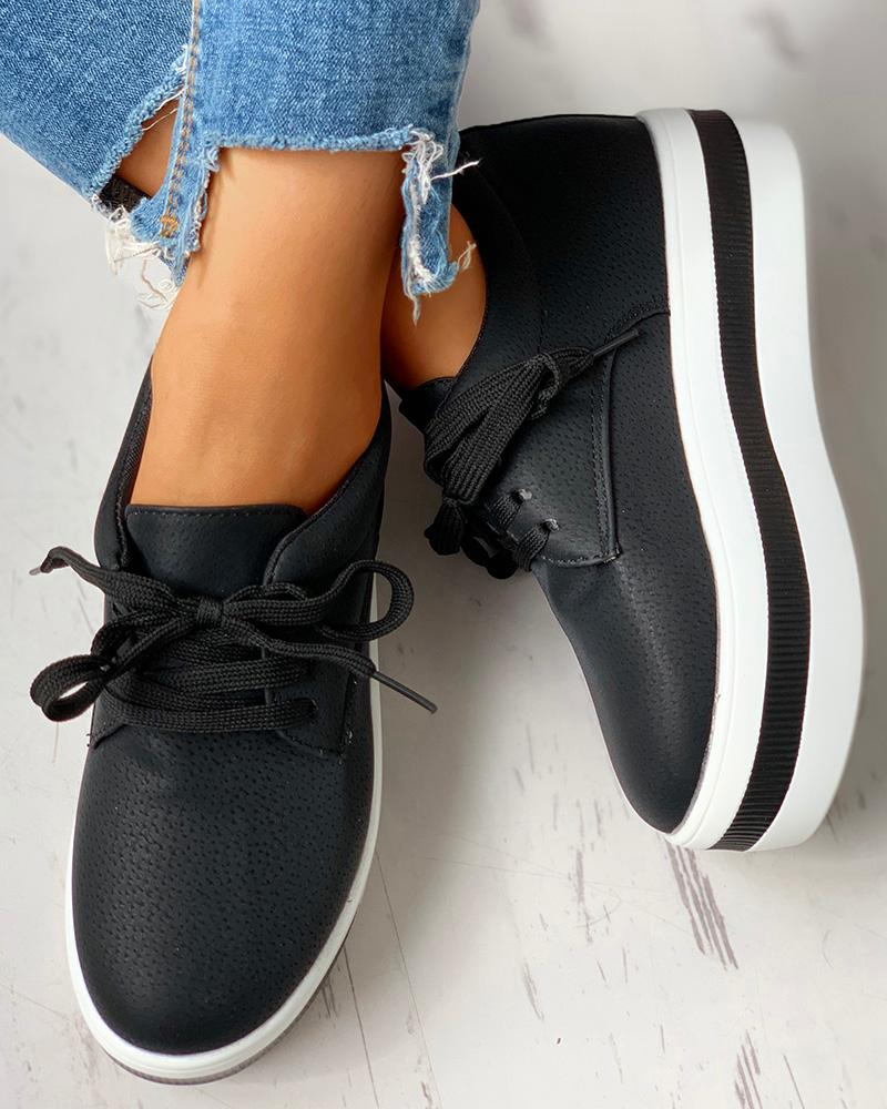 Colorblock Casual Platform Lace-Up Sneakers фото