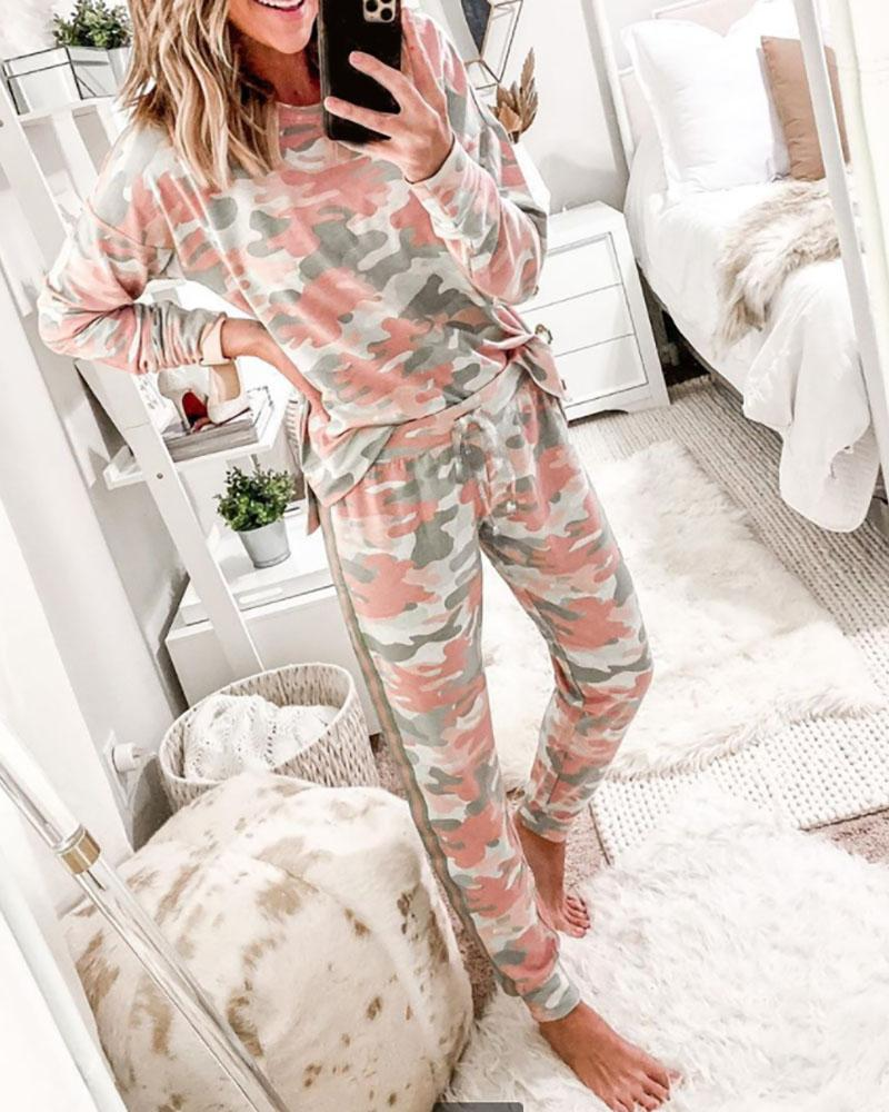 Camouflage Print Long Sleeve Top & Pants Set фото