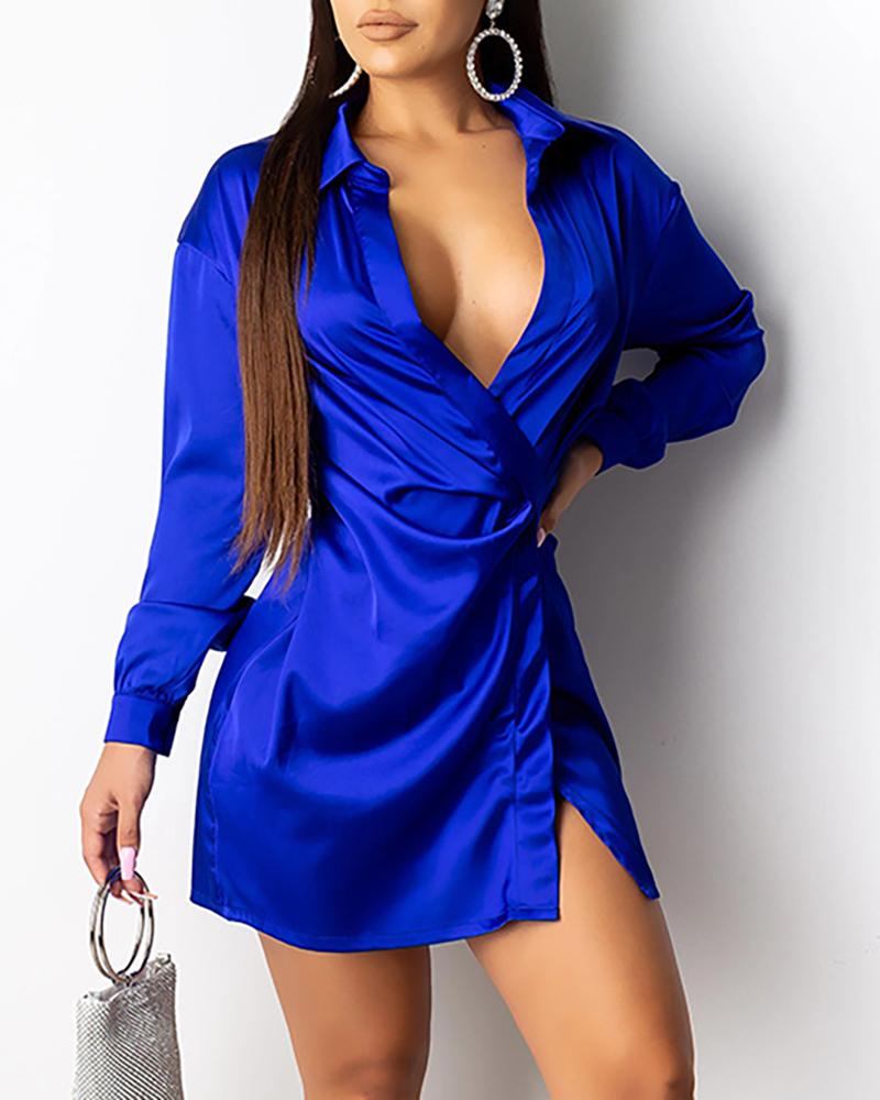 Solid Turn-down Collar Long Sleeve Shirt Dress фото