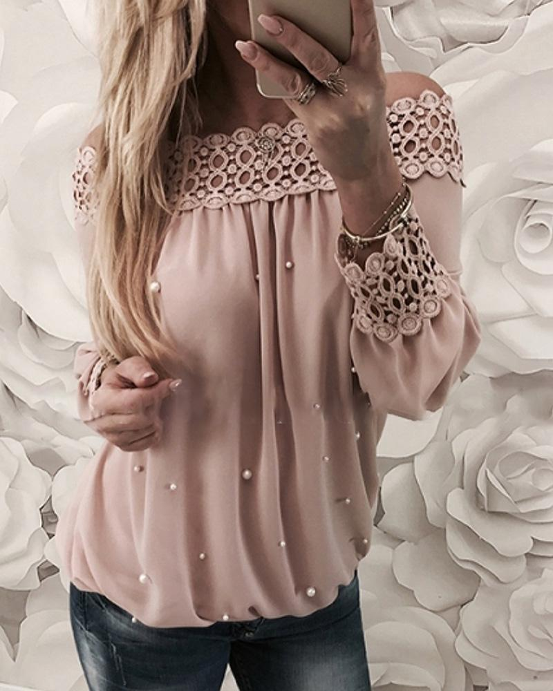 joyshoetique / Off Shoulder Beaded Hollow Out Blouse