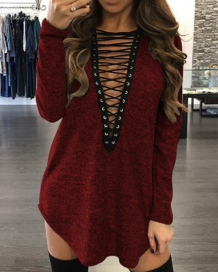 Eyelet Lace-Up Front Curved Hem Casual Blouse