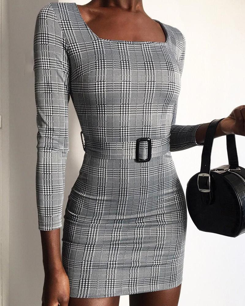 Square Neck Grid Belted Long Sleeve Dress фото