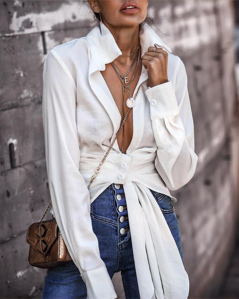 Solid Ruched Knotted Design Casual Shirt фото