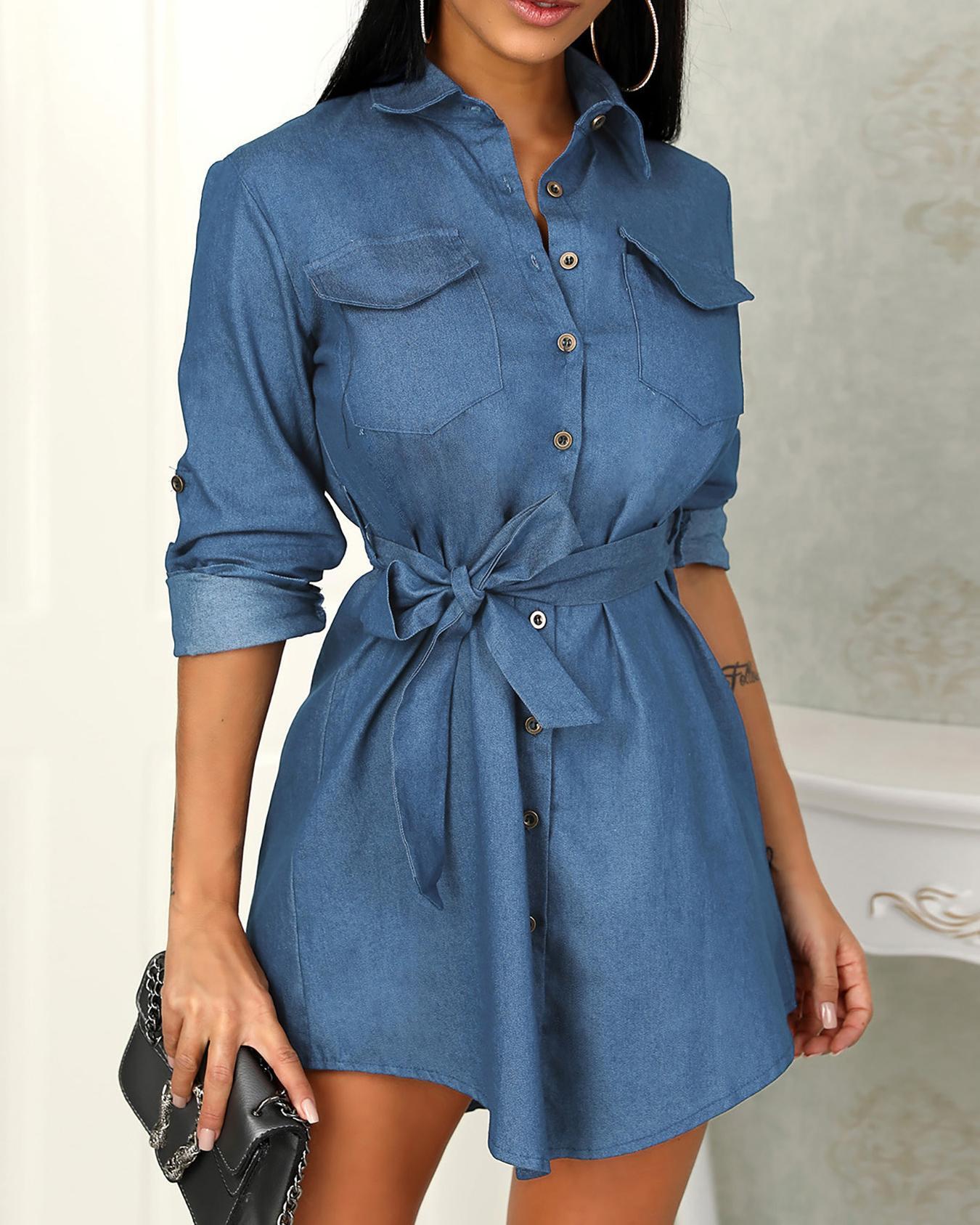 Long Sleeve Belted Denim Shirt Dress фото