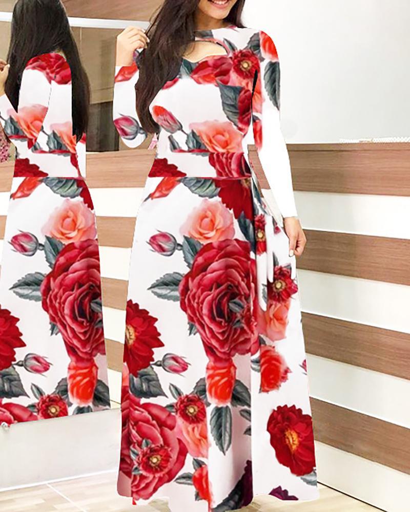 Long Sleeve Floral Printed Dress фото
